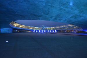 La sede del Centro de Aprendizaje del EPFL, Ecole Polytechnique de Lausanne en Suiza, también fue iluminado de azul.