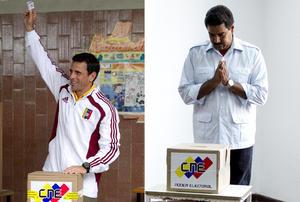 """Millones de venezolanos salen a las urnas para definir el futuro del """"chavismo"""", entre el presidente en funciones Nicolás Maduro, designado por Hugo Chávez antes de morir, y el opositor Henrique Capriles."""
