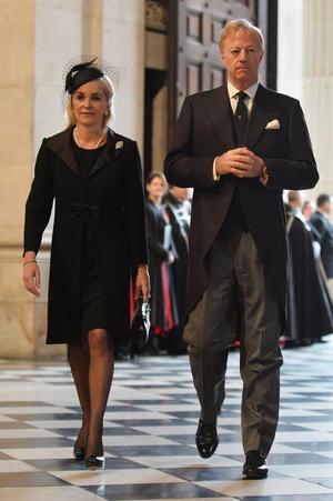 Sir Mark Thatcher, hijo de la fallecida ex primera ministra británica Margaret Thatcher, y su mujer, Sarah, asistieron al funeral de su madre en la Catedral de San Pablo en Londres (Reino Unido).