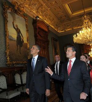 El presidente Peña Nieto aprovechó la ocasión para mostrarle al mandatario estadounidense el interior de Palacio Nacional.