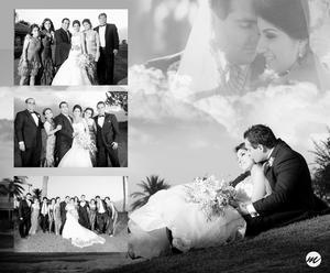 SRITA. ALECXY  Correa Acuña y Sr. Federico Eugenio Carreón Gutiérrez, el día de su boda, acompañados de familiares en unas fotografías de estudio.- Morán Fotograía