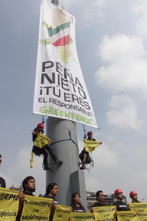 """Los activistas lograron colocar la manta en la que se lee el mensaje """"Peña Nieto, tú eres el responsable""""."""