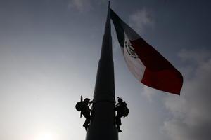 """A temprana hora, los activistas del grupo ambientalista comenzaron a subir para colocar la manta en la que se lee el mensaje """"Peña Nieto, tú eres el responsable"""" y presenta la imagen de un maíz mexicano con el sello """"Propiedad de Monsanto""""."""