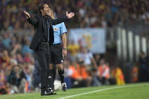 El Director Técnico Diego 'el cholo' Simeone, disputando la Supercopa de España luego de vencer en la temporada pasada al Real Madrid en la Copa del Rey.