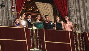 Desde el balcón, Peña y su familia presenciaron el espectáculo de pirotecnia.