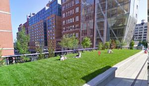 The High Line, en Nueva York es un parque que se encuentra sobre una vieja línea de tren y unos metros por encima de una transitada calle.
