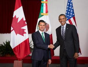 En el Palacio de Gobierno de Toluca, el presidente de México, Enrique Peña Nieto recibió a su homologo de Estados Unidos.