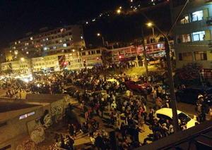 Una vista de la ciudad de Antofagasta al momento de la evacuación de sus habitantes.