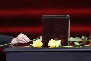 Las tan amadas flores amarillas que identificaran al escritor, no estuvieron ausentes en el homenaje y lo acompañan aún en su muerte.
