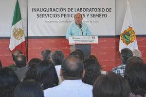 El gobernador Rubén Moreira inauguró el Laboratorio de Servicios Periciales y el Semefo en el ejido San Miguel del municipio de Matamoros Coahuila.