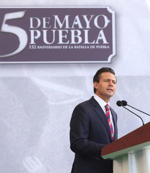 """Durante la ceremonia, por el 152 Aniversario de la Batalla de Puebla, el Ejecutivo dijo que  fue """"uno de los episodios más gloriosos de nuestra historia Patria""""."""