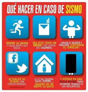 Un sencillo póster que nos muestra qué hacer en caso de sismo.