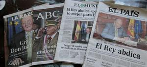 La abdicación del Rey Juan Carlos tuvo una amplia repercusión en los medios de comunicación de todo el mundo, que coinciden en destacar su figura histórica, sus problemas de salud y los escándalos que han rodeado a la monarquía española.