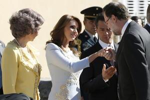 En el acto de bienvenida estaban presentes el presidente del Gobierno español, Mariano Rajoy, el ministro de Asuntos Exteriores, José Manuel García-Margallo; el presidente del Senado, Pío García-Escudero, y la alcaldesa de Madrid, Ana Botella, entre otras personalidades.