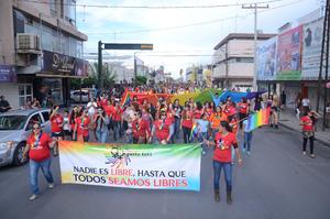 Durante la marcha se pidió mediante gritos y pancartas mayor respeto para los homosexuales, lesbianas e igualdad de género, además de que se repartieron entre los transeúntes condones y souvenirs relacionados con el movimiento.