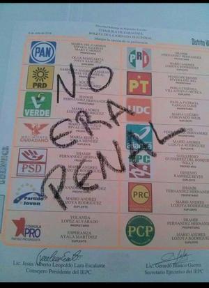 """La euforia del famoso """"#NoEraPenal"""", originado tras el partido en el que México quedó eliminado ante Holanda en el Mundial de Brasil 2014, ha llegado hasta las elecciones, ya que algunos votantes han escrito dicha leyenda en las boletas."""