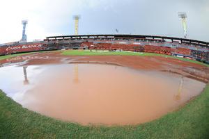 Debido a la fuerte lluvia que azotó la ciudad de Torreón, el cuarto partido de postemporada entre Diablos Rojos del México y Vaqueros Laguna tuvo que ser aplazado.