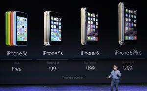 Los precios del iPhone6 irán de los $199 dólares hasta los $399, según su capacidad, mientras que del plus serán de $299 a $499 dólares.