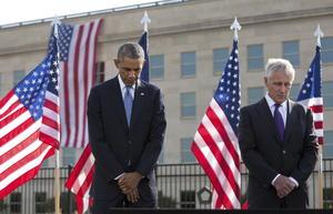 El presidente norteamericano estuvo acompañado por el secretario de Defensa Chuck Hagel.