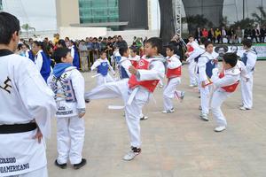 Familias enteras acudieron al desfile para apoyar a los jóvenes que realizaron demostraciones de Tae Kwon Do.