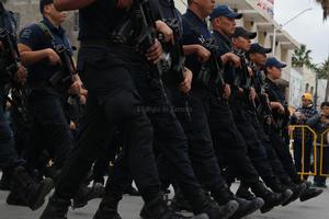 Elementos de la Dirección de Seguridad Pública Municipal formaron parte del desfile.
