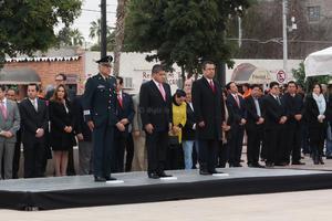 El acto cívico arrancó con una ceremonia a las 8:30 horas donde se narraron fragmentos de la Revolución Mexicana con la presencia de Miguel Ángel Riquelme, y el representante del Ejército Mexicano.
