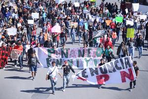Más de 500 personas participaron en una marcha desarrollada en el marco de la conmemoración de la Revolución Mexicana, que este año tuvo como propósito exigir la renuncia del presidente Peña Nieto.