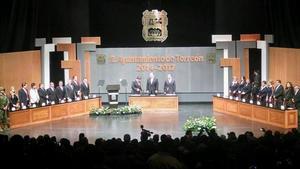 1 de enero   Riquelme. Miguel Ángel Riquelme Solís rindió protesta ante la ciudadanía durante la segunda sesión solemne de Cabildo.