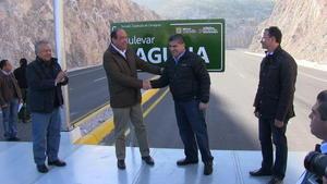 28 de noviembre   Bulevar. Después de cinco años en proceso de construcción y cuatro etapas, el gobernador del Estado Rubén Moreira y el alcalde Miguel Riquelme entregaron el bulevar Laguna.