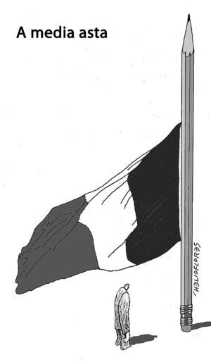 Helio Flores publicó este cartón en El Siglo de Torreón mostrando su solidaridad.