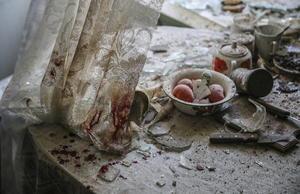 La imagen  del fotógrafo ruso Sergei Ilnitsky que muestra los daños materiales en la mesa de cocina de una casa en el centro de Donetsk, Ucrania,  tras resultar alcanzada por el fuego de artillería durante los enfrentamientos entre las Fuerzas Armadas ucranianas y las milicias prorrusas el 26 de agosto de 2014 ganó en la categoría de fotografía en solitario de noticias generales.