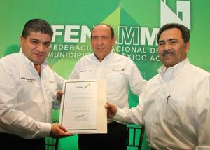 13 de marzo | Cargo. El alcalde Miguel Ángel Riquelme Solís, asumió en la ciudad de Saltillo el cargo de Presidente de la Federación Nacional de Municipios de México (Fenamm), delegación Coahuila.