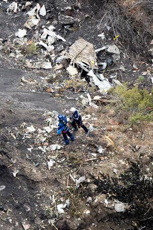 Las fotografías difundidas muestran restos del avión que trasladaba a 150 personas.
