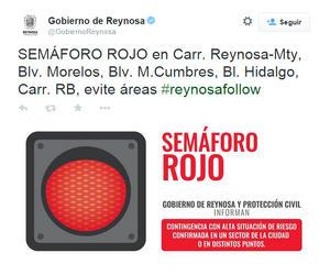 El gobierno de Reynosa alertó a la ciudadanía por medio de su cuenta de Twitter.