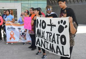 """Los manifestantes exigían avances en el caso de """"Matías"""", el perro pitbull que fuera agredido hasta provocarle la muerte."""