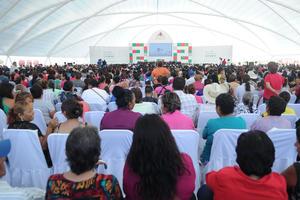 La Velaria de la Expo Feria se llenó por completo durante el mensaje a la ciudadanía.