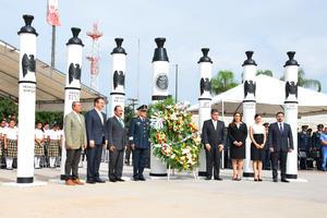 Conmemoran autoridades municipales y militares el 168 aniversario de la gesta de los Niños Héroes de Chapultepec.
