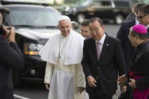 Fue recibido por el secretario de Naciones Unidas, Ban Ki Moon.