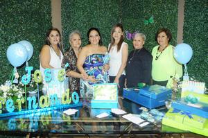 07112015 PRENATAL.  Luz Celia de la Fuente en compañía de las anfitrionas de su baby shower Rosa María, Lupita, Julia, Sara y Rosita.