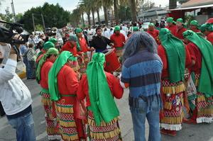 La danza de los matlachines, conformada por futuros sacerdotes del Seminario Santa María Reina estuvo presente en la peregrinación.