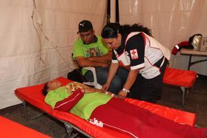 Se instalaron puntos de revisión médica para que todos los peregrinos estuvieran a salvo.