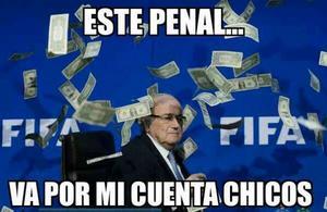 """El presidente de la FIFA """"pagando"""" el partido entre las selecciones de CONCACAF."""