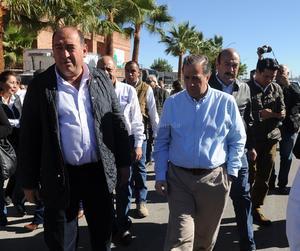 Meade llegó acompañado del gobernador del estado, Rubén Moreira.