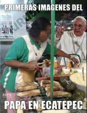 Los tuiteros representaron la visita del Papa a Ecatepec.