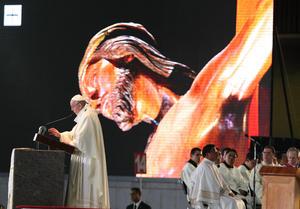 Otras 35 mil personas observaron la ceremonia en pantallas colocadas afuera de la Basílica.