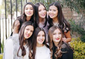 21022016 ENTRE AMIGAS.  Ángela cumplió 16 años y lo celebró junto a sus familiares y amigas: Samia, Dany, Laura, Jimena y Mariana.