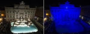 Celebran. El Fondo Mundial para la Naturaleza (WWF) festejó los 10 años de la Hora del Planeta en la Fuente de Trevi de Roma.