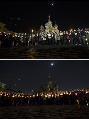 Emotivo. Personas encendieron velas frente a la Basílica de San Basilio en Moscú, para recordar a las víctimas del accidente aéreo.