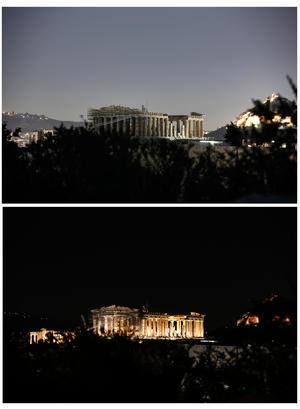 Testigo milenario. El Partenón de Atenas, Grecia, también estuvo una hora en la oscuridad.