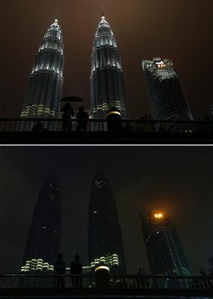 Doble. Las Torres Gemelas de Petronas en Malasia se unieron a la Hora.